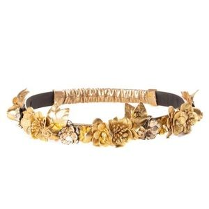 CHANEL 2018 Runway Gold Leather Flower Headband